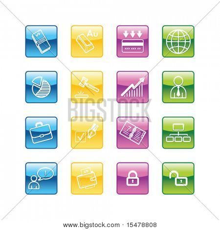 Aqua business icons. Vector file has layers, all icons in four versions are included.