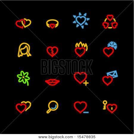 neon love icons