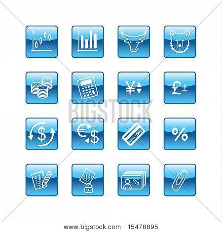 blue aqua finance icons (raster)