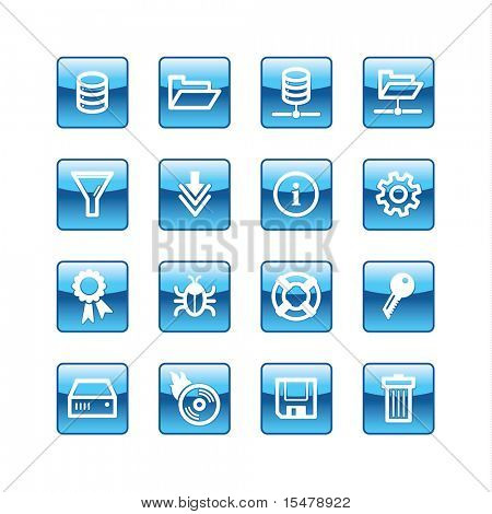 blue aqua server icons (raster)