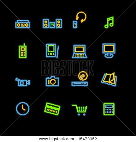 neon home electronics icons (raster)