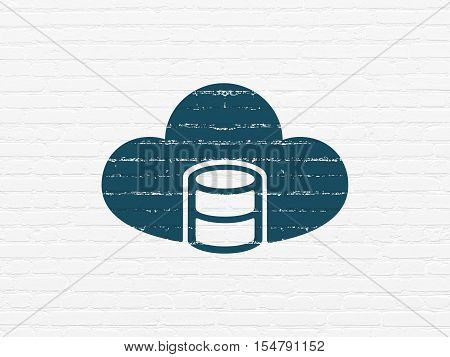 Database concept: Painted blue Database With Cloud icon on White Brick wall background