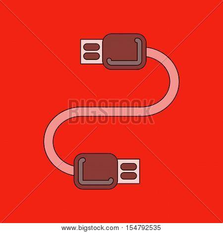 flat icon on stylish background usb cable