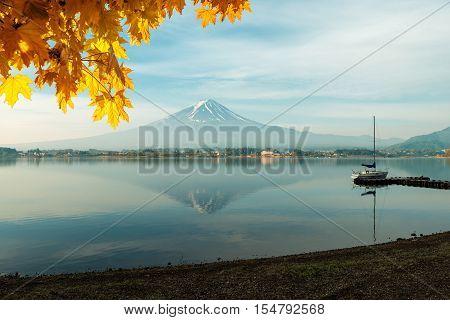 Mt fuji with autumn foliage at lake kawaguchi Japan