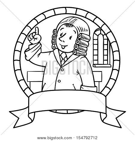 Emblem or coloring book of funny judge. A man in barrister wig, dressed in mantle, with briefcase understand thumbs up. Profession series. Childrens vector illustration.