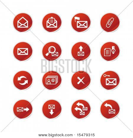 red sticker  e-mail icons