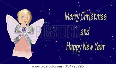 Christmas greeting card with little hand drawn angel and stars. Pink cherub with silver ribbon on a dark blue background with stars
