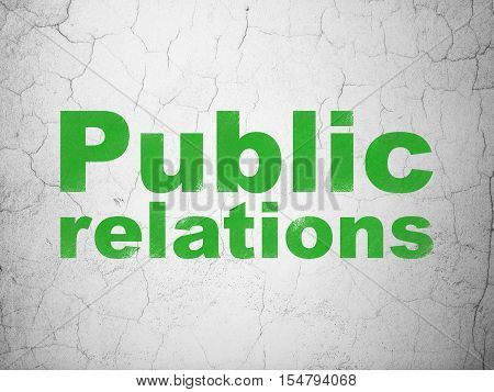 Advertising concept: Green Public Relations on textured concrete wall background