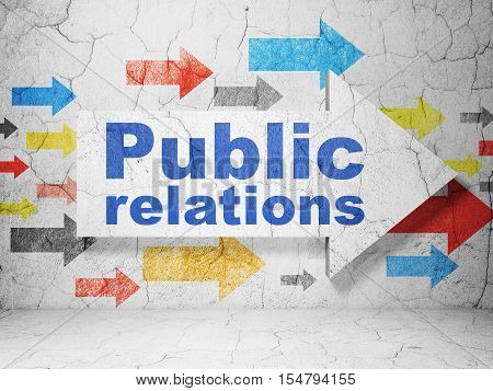 Advertising concept:  arrow with Public Relations on grunge textured concrete wall background, 3D rendering