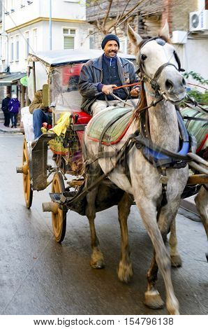 Istanbul Turkey - December 18 2016: Phaeton Buyukada. Horse carriage. The symbol of the Islands is the transportation vehicle phaetons. Adalar in Marmara Sea near Istanbul in Buyukada (meaning Big Island in Turkish). This is a neighborhood in the Istanbul