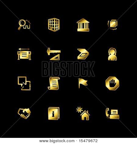 Gold building icons