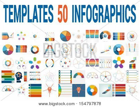 50 Vector Templates for Infographics pie chart ring chart area chart timeline list diagram with text areas for five positions.