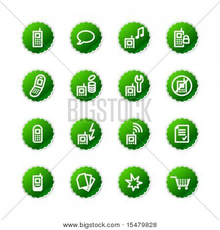 green sticker mobile phone icons