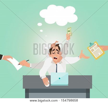 Businessman with multitasking and multi skill vector. Businessman multitasking on table and have a great idea. Flat style design vector illustration.