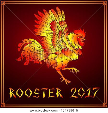 Vector illustration. A pugnacious fiery red rooster on a dark red background. A symbol of the Chinese new year 2017 according to east calendar. Festive greeting card.