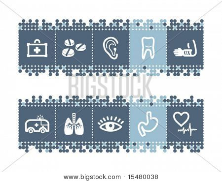 Blue dots bar with medicine icons. Vector file has layers, all icons in two versions are included.