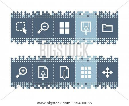 Blue dots bar with image viewer icons. Vector file has layers, all icons in two versions are included.