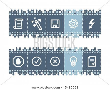 Blue dots bar with script icons. Vector file has layers, all icons in two versions are included.