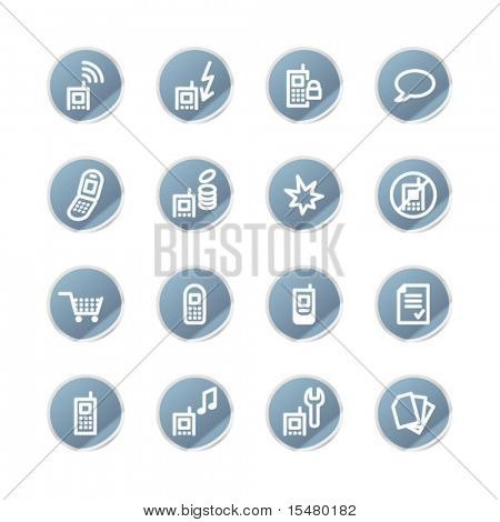 blue sticker mobile phone icons