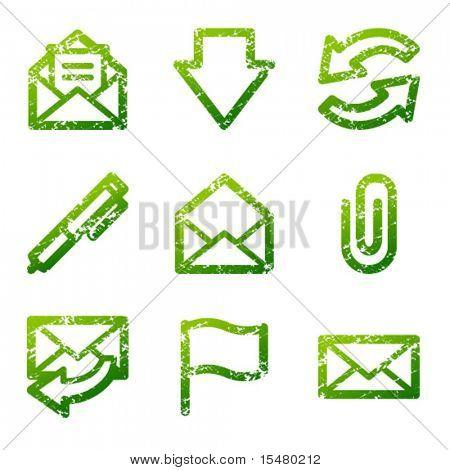 Green grunge e-mail contour icons V2