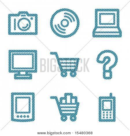 Blue line electronics contour icons V2
