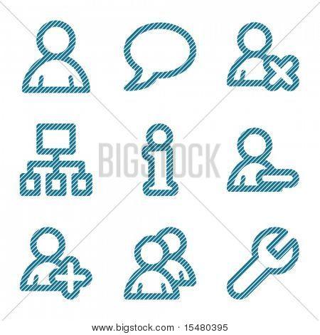 Blue line users contour icons V2