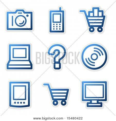 Electronics icons, blue contour series