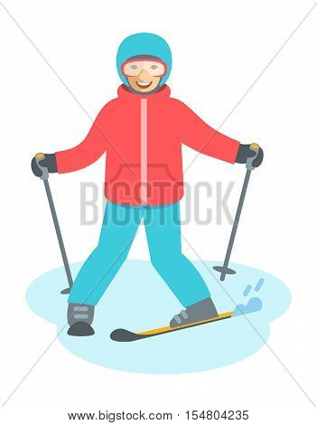 Child figure skiing vector flat illustration. Teen boy or girl coming down the on skis. Kids winter activities. Child in ski suit playing winter sport on Christmas holidays. Moving cartoon character. Isolated on white