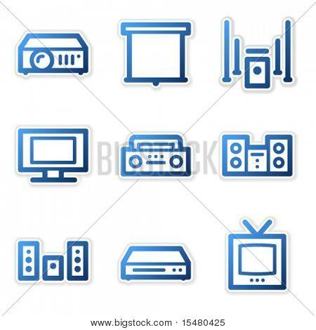 Sound and cinema icons, blue contour series