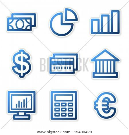 Finance icons, blue contour series