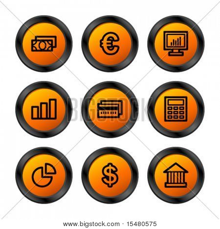Finance icons, orange circle series