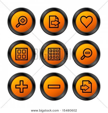 Image viewer icons, orange circle series