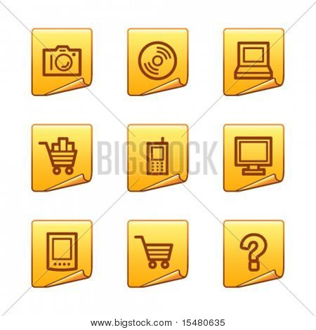 Electronics icons, gold sticker series