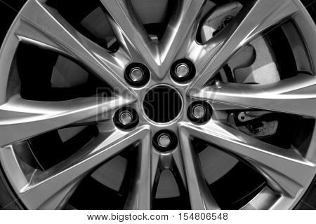 Modern car wheel, closeup