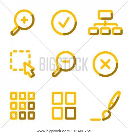 Image viewer icons, gold contour series