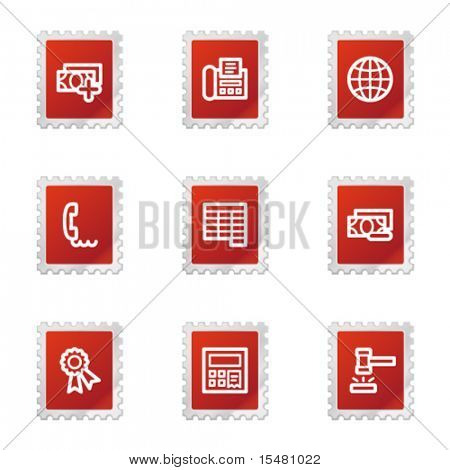 Finance 2 icons, red stamp series