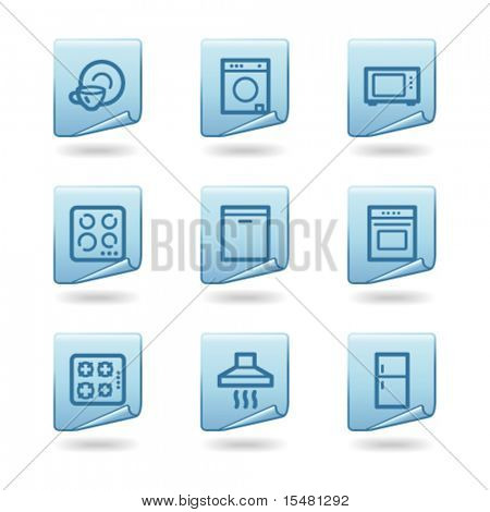 Home appliances icons, blue sticker series