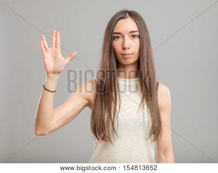 Girl Showing Vulcan Greeting