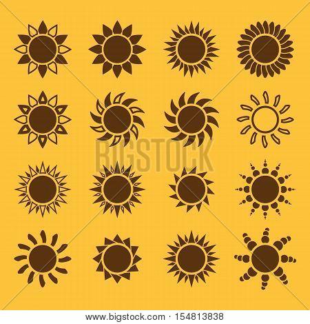 The sun set of 16 icon. Sunrise and sunshine, weather, sun symbol. UI. Web. Logo. Sign. Flat design. App. Stock vector