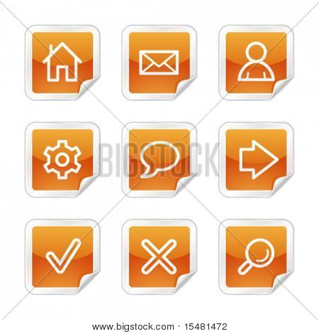 Basic web icons, orange glossy sticker series