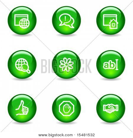 Internet communication web icons, green glossy sphere series