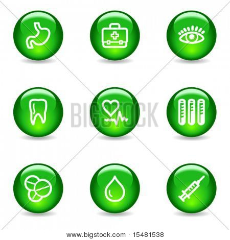 Medicine web icons, green glossy sphere series