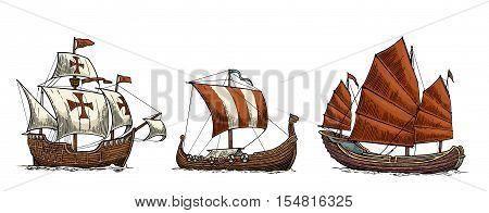 Caravel drakkar junk. Set sailing ships floating on the sea waves. Hand drawn design element. Vintage color vector engraving illustration for poster label postmark. Isolated on white background.