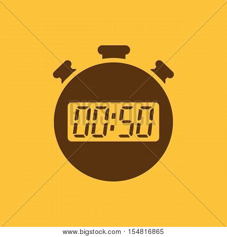 The 50 seconds, minutes stopwatch icon. Clock and watch, timer, countdown, stopwatch symbol. UI. Web. Logo. Sign. Flat design. App. Stock vector