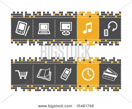Electronics web icons on grey and orange dots bar. Vector file has layers, all icons in two versions are included.