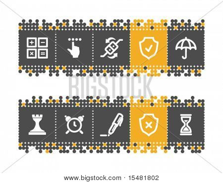 Software web icons on grey and orange dots bar. Vector file has layers, all icons in two versions are included.