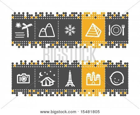 Tourist guide web icons on grey and orange dots bar. Vector file has layers, all icons in two versions are included.
