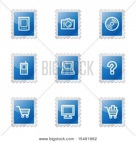 Electronics web icons, blue glossy stamp series