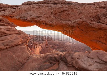the scenic landscape of mesa arch in canyonlands national park utah at sunrise