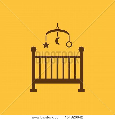 Childrens bed icon. Baby bed design. Cradle and home, nurse, Childrens bed symbol. web. graphic. AI. app. logo. object. flat. image. sign. eps. art. picture - stock vector
